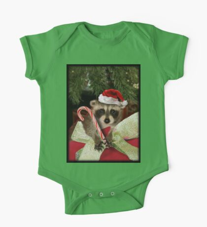 Christmas Raccoon One Piece - Short Sleeve