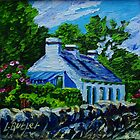 Old Cottage on Garron Road, Townland of Galboly, Antrim Coast., Oil and acrylic on canvas., 8 x 8 ins by Laura Butler