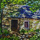 In the Shadows, Ruined Cottage on the Vianstown Road, Townland of Ballyvange, County Down., Oil and acrylic on canvas., 8 x 8 inch by Laura Butler