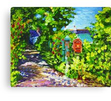 Cottages on a Lane at the Head of the Brae, Ballymuldrogh Townland, Islandmagee, County Antrim, Oil and acrylic on canvas, 8 x 10 inch Canvas Print