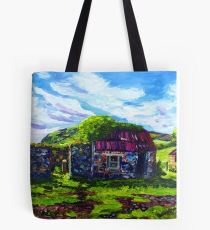 In the Townland of Gortnagory, Glencloy, County Antrim., Oil and acrylic on box canvas, 10 x 12 inch Tote Bag