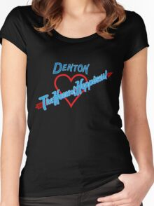 Denton - Home of Happiness in Neon Women's Fitted Scoop T-Shirt