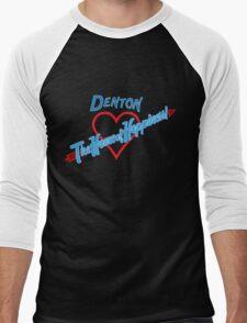 Denton - Home of Happiness in Neon Men's Baseball ¾ T-Shirt