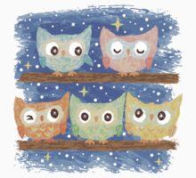 Five birds Owl by Toru Sanogawa