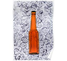 Beer on ice cubes fragmented in vertical Poster