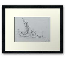 pencil sketch - a boat at Putney 1880 Framed Print