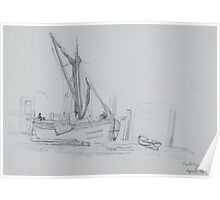 pencil sketch - a boat at Putney 1880 Poster