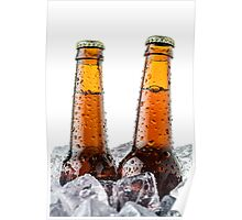 Beers on ice cubes whit water drops Poster