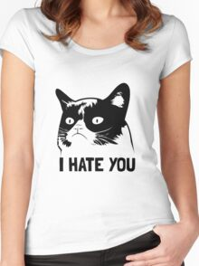 Grumpy Cat hates you! Women's Fitted Scoop T-Shirt