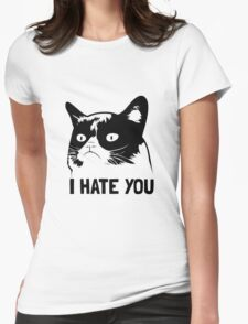 Grumpy Cat hates you! Womens Fitted T-Shirt