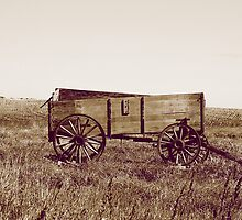 Abandoned Grain Wagon in a Field in Sepia by rhamm