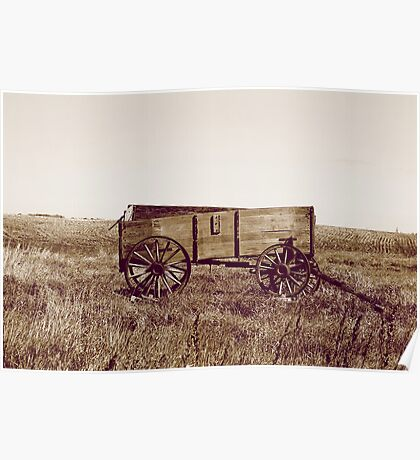 Abandoned Grain Wagon in a Field in Sepia Poster