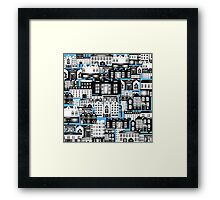 SPLASHYARTYSTORY - ALL ABOUT BUILDINGS blue Framed Print