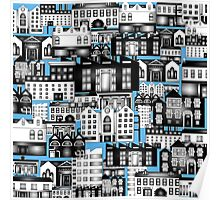 SPLASHYARTYSTORY - ALL ABOUT BUILDINGS blue Poster