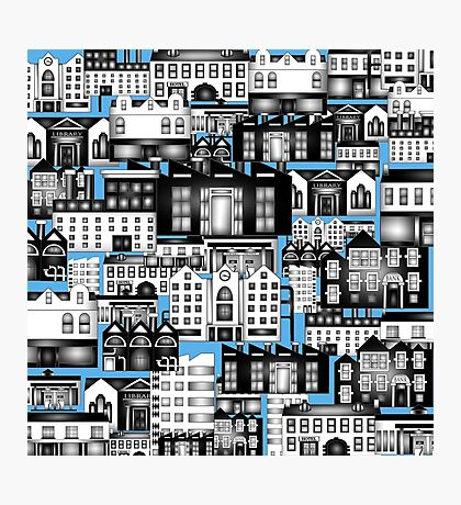 SPLASHYARTYSTORY - ALL ABOUT BUILDINGS blue Photographic Print