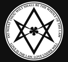Aleister Crowley - DO WHAT THOU WILT SHALL BE THE WHOLE OF THE LAW - Occult - Thelema (White On Black) by James Ferguson - Darkinc1