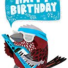 Pallas Rose Finch Playing Keytar Birthday Card by Claire Stamper