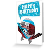 Pallas Rose Finch Playing Keytar Birthday Card Greeting Card
