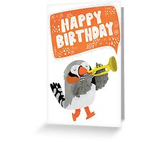 Happy Birthday Zebra Finch Playing A Trumpet Greeting Card