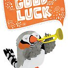 Zebra Finch Playing A Trumpet Good Luck Card by Claire Stamper