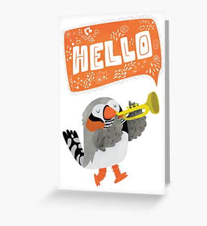 Zebra Finch Playing A Trumpet Says Hello Card Greeting Card