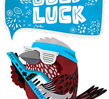 Pallas Rose Finch Playing Keytar Good Luck Card by Claire Stamper