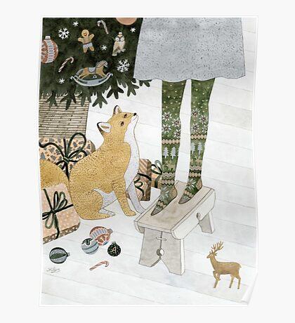 Christmas tree decorating Poster