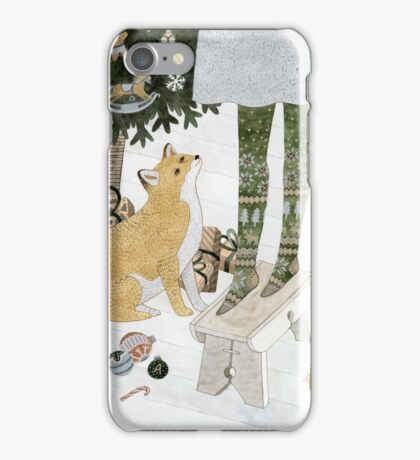 Christmas tree decorating iPhone Case/Skin