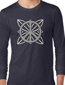Peace Sign Dark Gray over Light Gray Long Sleeve T-Shirt