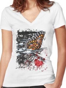 Bullet with Butterfly Wings Women's Fitted V-Neck T-Shirt