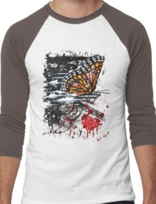 Bullet with Butterfly Wings Men's Baseball ¾ T-Shirt