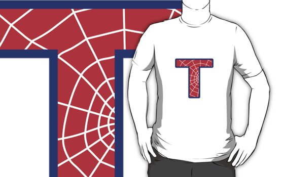 T letter in Spider-Man style by Stock Image Folio