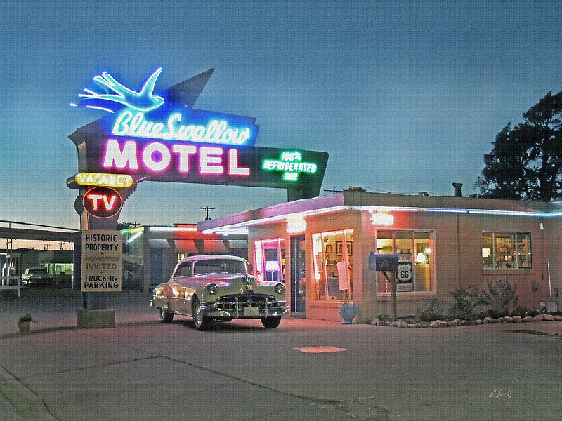 Historic Rt. 66 Blue Swallow Motel by Gordon  Beck