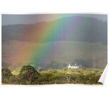 Rainbow over Farmstead Poster