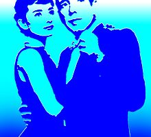 humphrey bogart and audrey hepburn, pure blue by sebmcnulty