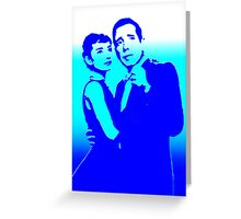humphrey bogart and audrey hepburn, pure blue Greeting Card