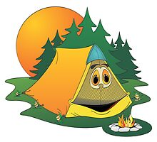 Cartoon Camping Tent by Graphxpro