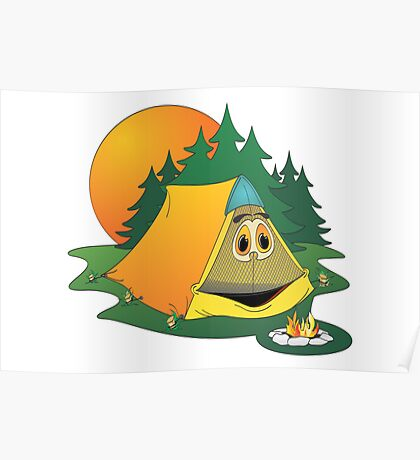 Cartoon Camping Tent Poster