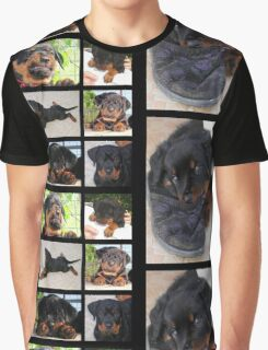 Collage Of Cute Female Rottweiler Puppy Graphic T-Shirt