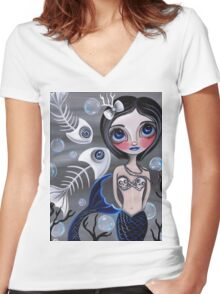 """""""My Skellyfish Friends"""" Women's Fitted V-Neck T-Shirt"""