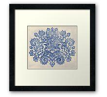 Indigo Blue Denim Ink Doodle Framed Print