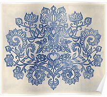 Indigo Blue Denim Ink Doodle Poster