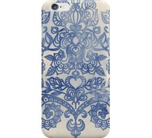 Indigo Blue Denim Ink Doodle iPhone Case/Skin