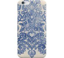 Indigo Blue Denim Ink Doodle iPhone Case/Skin