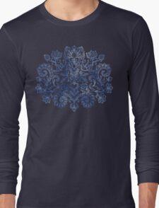 Indigo Blue Denim Ink Doodle Long Sleeve T-Shirt