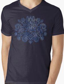 Indigo Blue Denim Ink Doodle Mens V-Neck T-Shirt