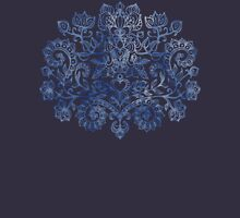 Indigo Blue Denim Ink Doodle Womens Fitted T-Shirt