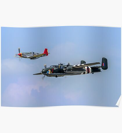 P-51C Mustang and B-25 Mitchell bomber Poster