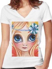 Cute Daisy Dreamer Fairy Women's Fitted V-Neck T-Shirt