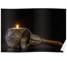 White Candle And Bell Poster